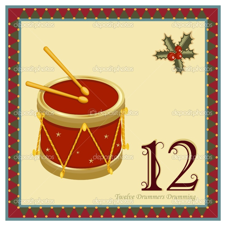 12 Days Of Christmas Pictures Printable | The 12 Days of Christmas - 12-th Day - Twelve Drummers DrummingVector ...