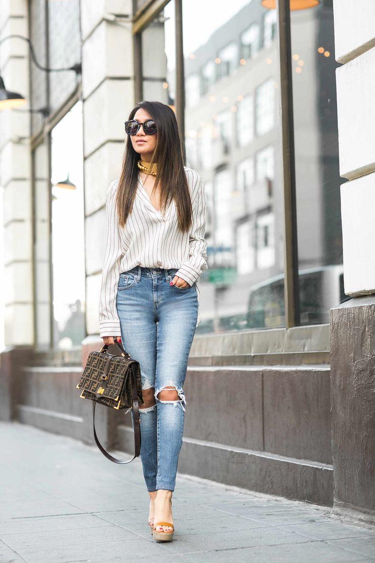 High Rise Distressed Skinny Jeans Amp Platform Sandals