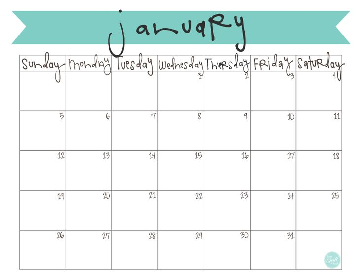 free printable monthly calendar for january 2014 | www.livecrafteat.com