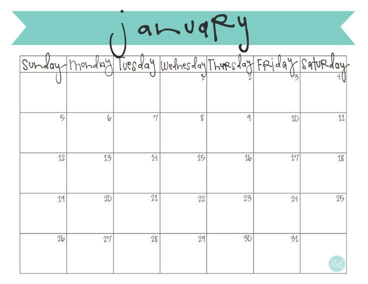 Family Planner Calendar Nz : January calendar free printable
