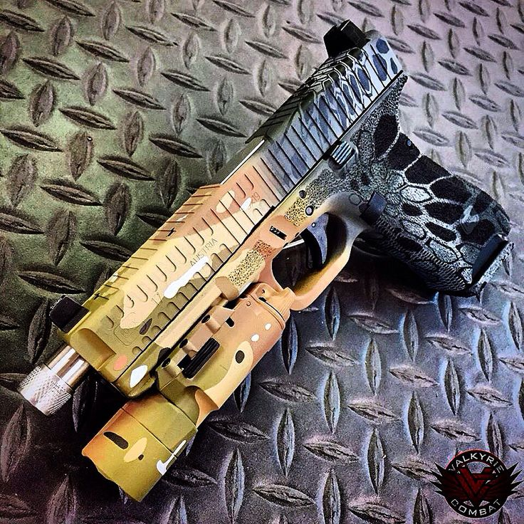 Can decide which camo pattern you want on your Valkyrie Combat custom Glock?  Why not get 2?  This V17 features both MultiCam and Valtek patterns in Cerakote.