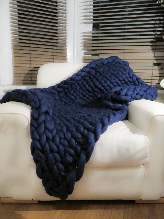 Chunky blanket 100% Pure Merino Wool Blanket Navy by mycosyLondon