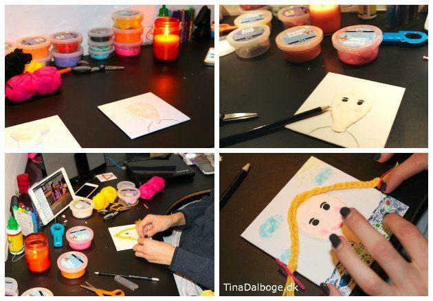 Kreativ selv portræt for børn lavet med silk clay og foam clay. Se hvordan og køb materialer på kreahobshop.dk