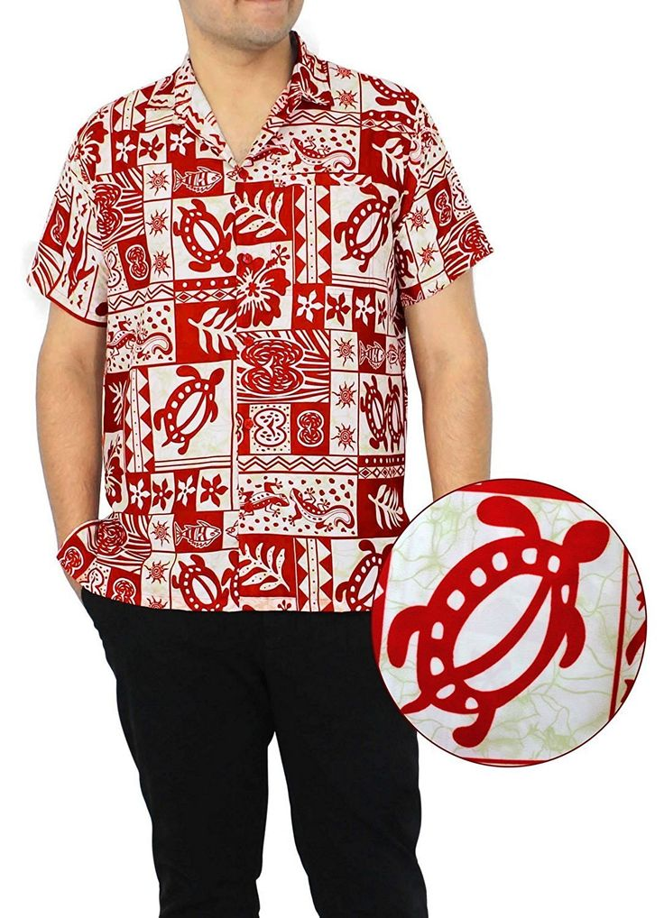 La Leela Hawaiian Shirt For Men Short Sleeve Front-Pocket Tropical White Red ** New and awesome product awaits you, Read it now  : Gift for Guys