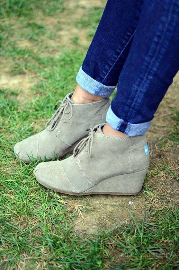 TOMS Booties in Taupe