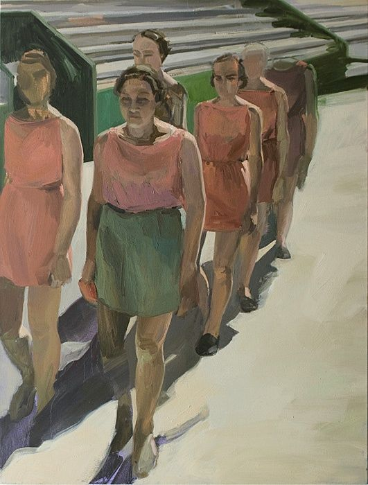 2009 Sarah Awad Marchers Oil On Canvas 50 X 38 Inches