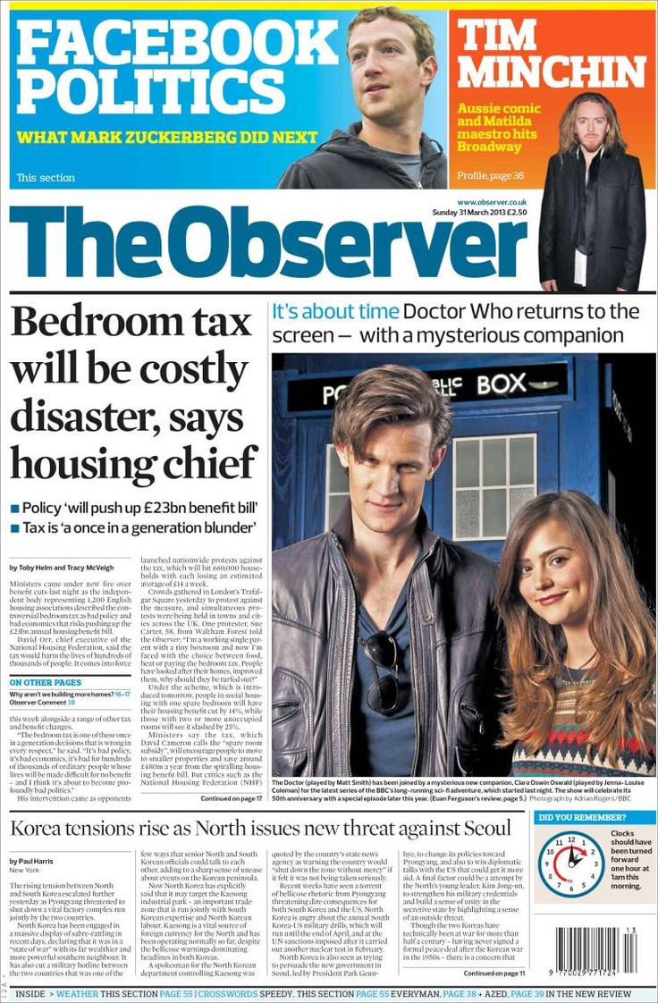 The Doctor is on the front page of The Observer in a sort of leather Members Only jacket