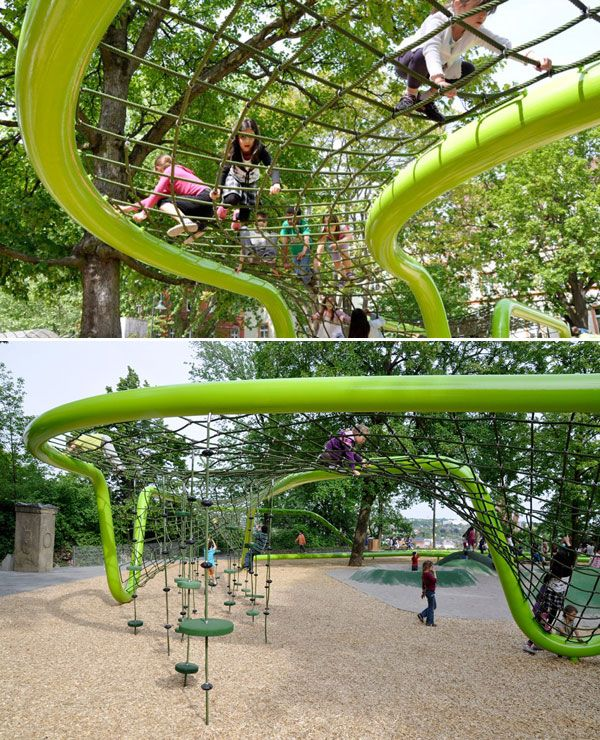 Sculptural playground in Schulberg, Germany. Designed by ANNABAU