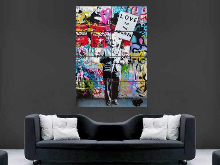 BANKSY POSTER GRAFFITI STREET ART LOVE IS THE ANSWER EINSTEIN WALL LARGE GIANT
