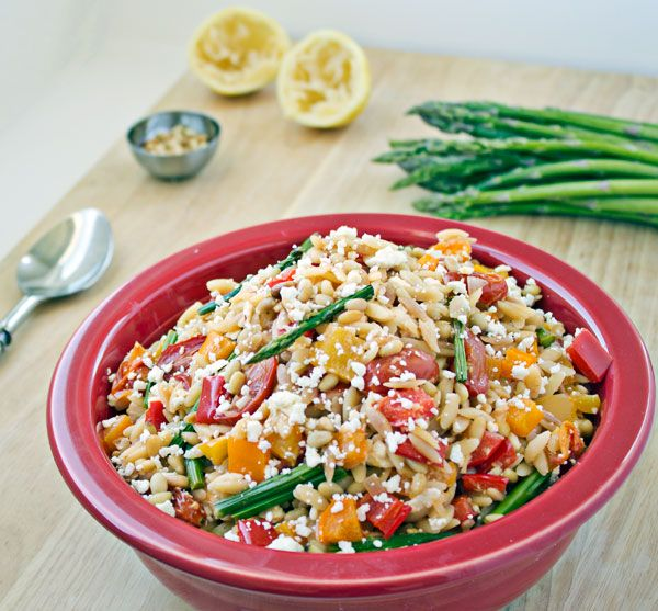 Roasted Vegetable Orzo with Pine Nuts and Feta Cheese pairs bright ...