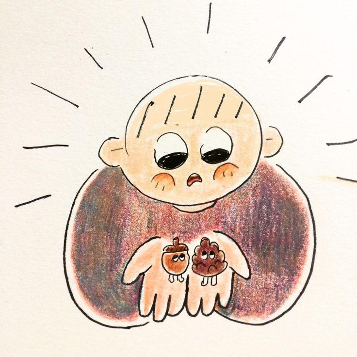 눈이 달렸네  #도토리 #솔방울 #낙서 #doodle #illustration #acorn