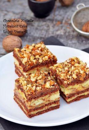 Prăjitură cu alune,nutella si crema de vanilie