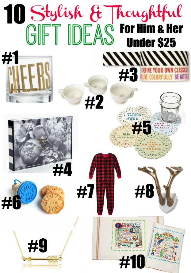 10 Gift Ideas For Him And Her Under 25 Via Rainonatinroof