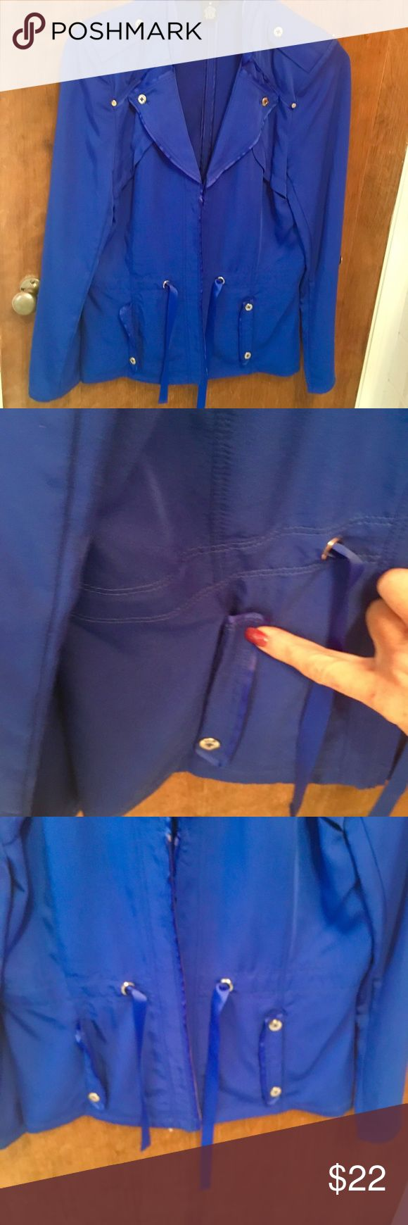 Royal Blue Blazer/Jacket  new w/out Tasha Royal Blue stunning color size Medium- 70% Rayon, 30% Polyester.  See pictures missing silver decorative button on right pocket.  New, never worn but w/out tags.  I'm Cleaning my closet out and forgot to wear this. peck and peck Jackets & Coats Blazers
