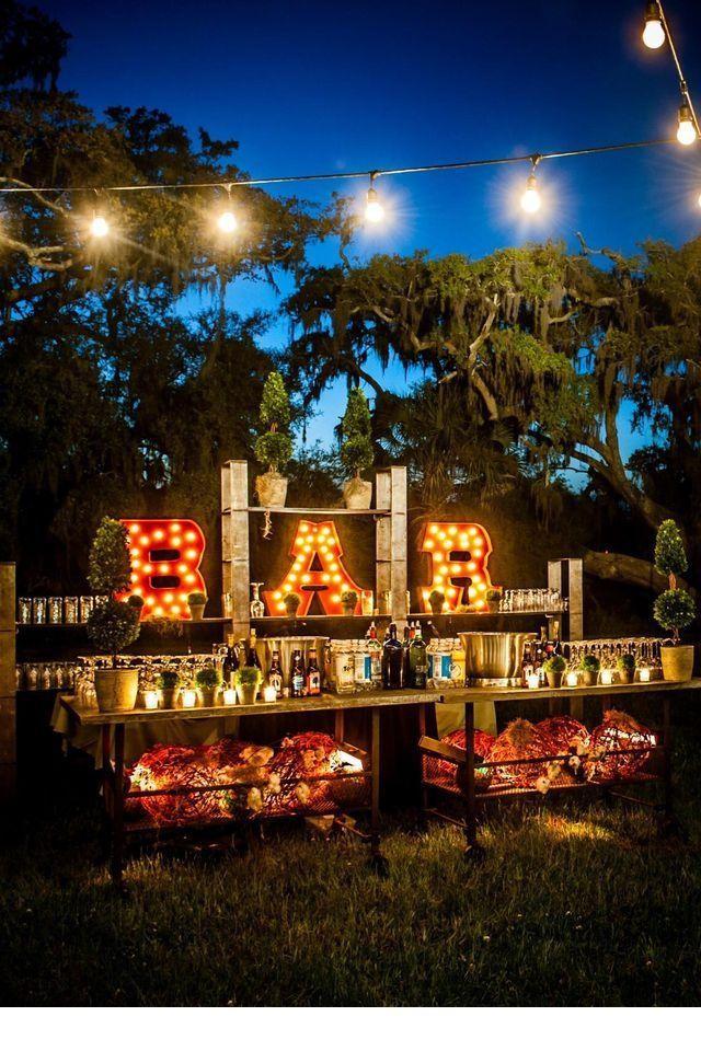 Acheter des lettres lumineuses pour illuminer un bar jardin mariage pinterest déco