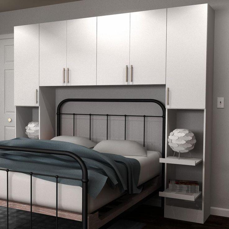 Horizon Full Size Bed Surround Melamine Cabinets in White