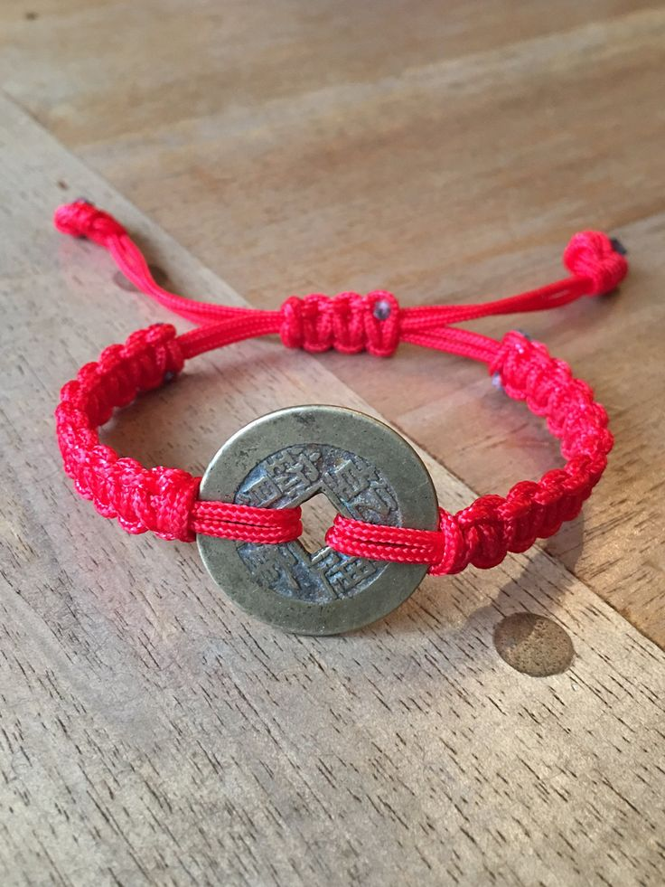 "Antique Lucky Old Coin Red Cord Bracelet - Authentic Qing Dynasty Chinese Old Coin ""乾隆通寶""(Over 220 Years Old) Adjustable Red Cord Bracelet by RitaCollection on Etsy"