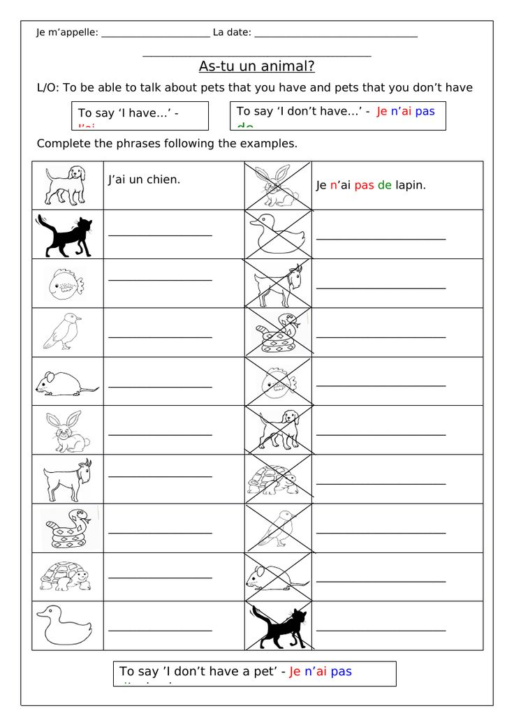 french animals as tu un animal worksheets grammar animal worksheets french resources. Black Bedroom Furniture Sets. Home Design Ideas