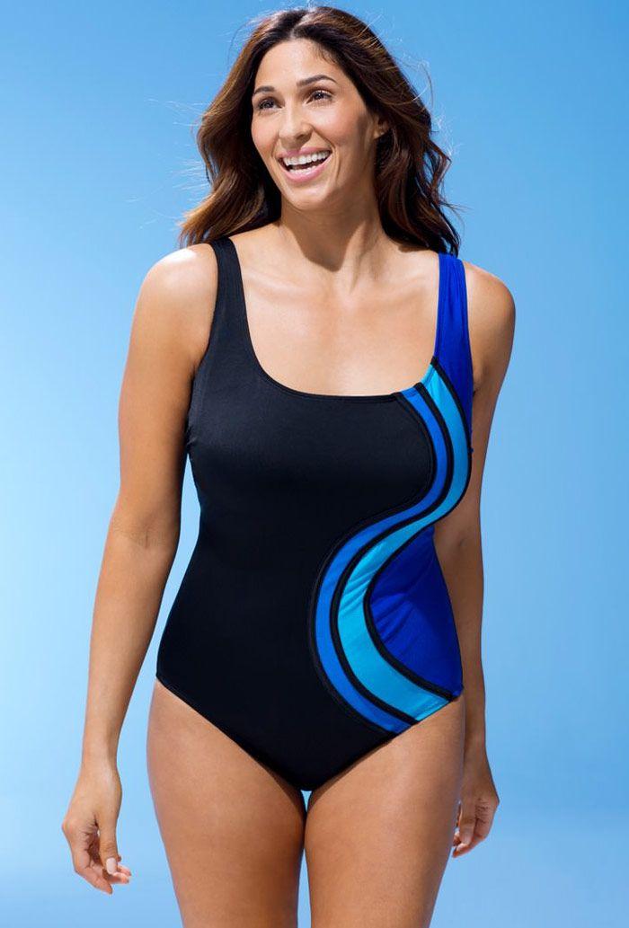 Longitude Blue S-Curve Tank Swimsuit