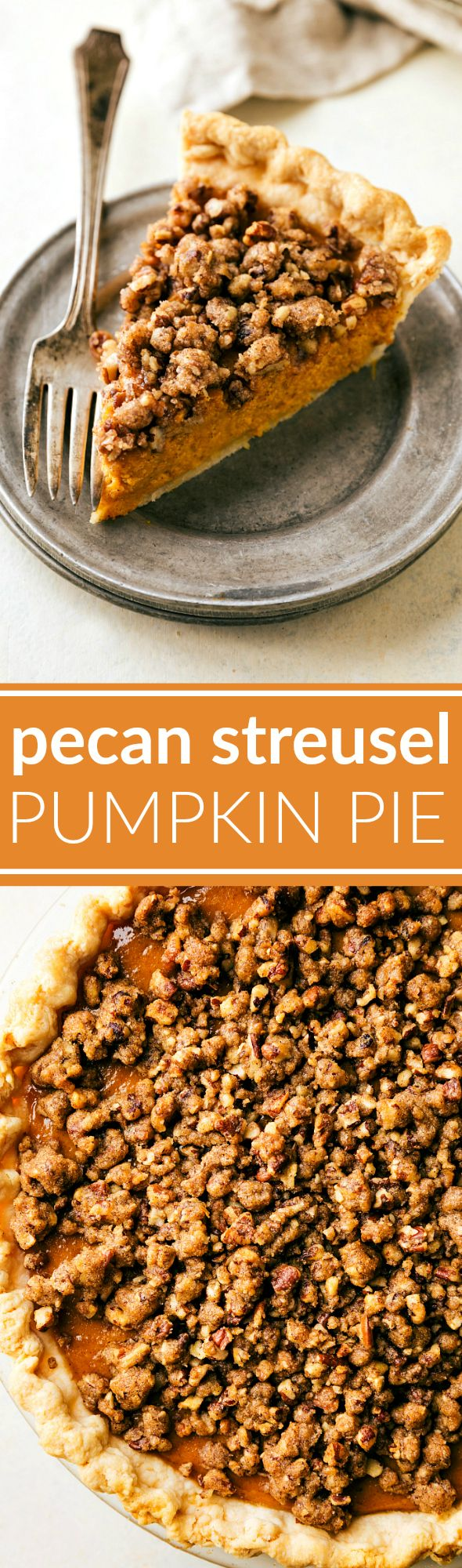 A simple-to-make (no hand mixers or stand mixers required!) pumpkin pie with a delicious sugary-pecan streusel. The (optional) two-ingredient maple whipped topping takes this pie over the top! via http://chelseasmessyapron.com