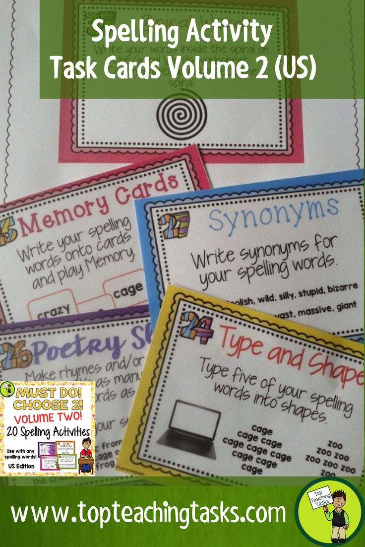 These spelling activity task cards and Print and Go student worksheet timesavers will make your teacher life easier. They work with ANY spelling list - perfect for differentiated learning. Use as a literacy station activity, for morning bell work, homework, or as an early finisher resource. Use the Print and Go activity worksheets provided. Re-Use throughout the year. Build independent with the Must Do, Choose Two display. Grade 3, Grade 4, Grade 5, Grade 6, 3rd Grade, 4th Grade, 5th Grade…