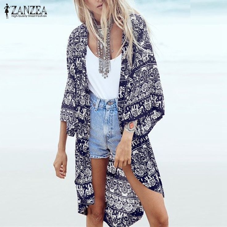 Find More Blouses & Shirts Information about S 6XL 2017 Fashion Women Summer Blouse Beach Boho Kimono Cardigan Floral Printed 3/4 Sleeve Casual Loose Long Beach Blusas Tops,High Quality blouse floral,China blouse white Suppliers, Cheap blouse silk from Look! Sunshine Store on Aliexpress.com