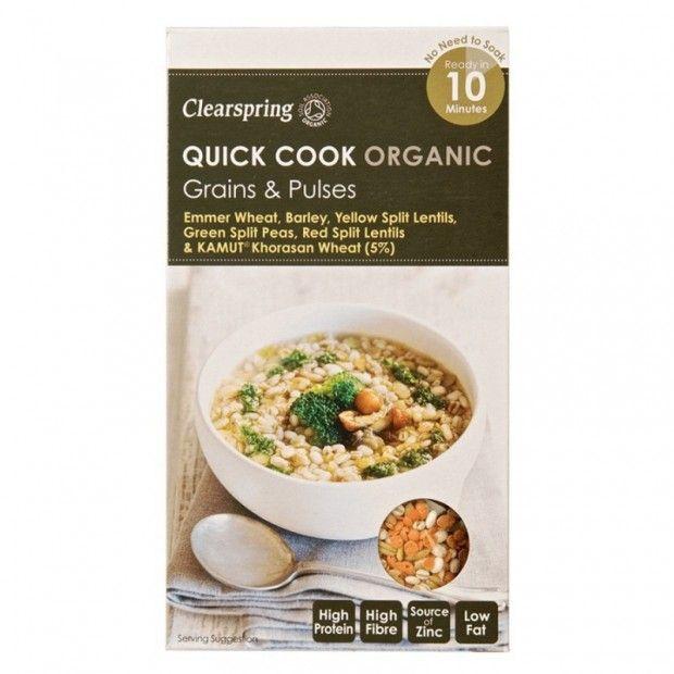 La tienda online gourmet y delicatessen Érase un gourmet vende sobres Quick Cook Organic marca Clearspring como este de cereales y lentejas