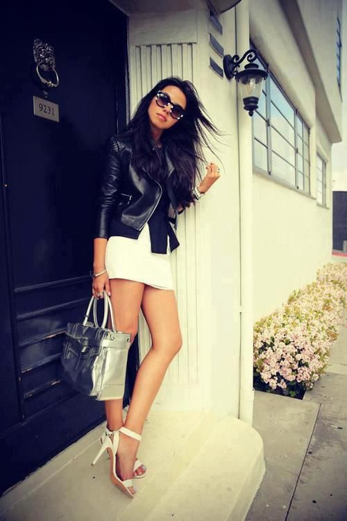great combination of leather jacket with a white dress