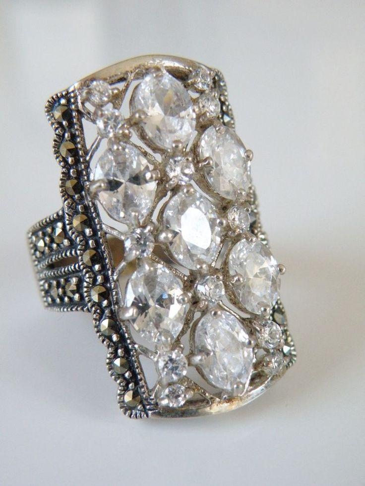 HUGE Vintage Sterling Silver 925 Clear Quartz Marcasite ART DECO Design Ring 11 #Handmade #statement
