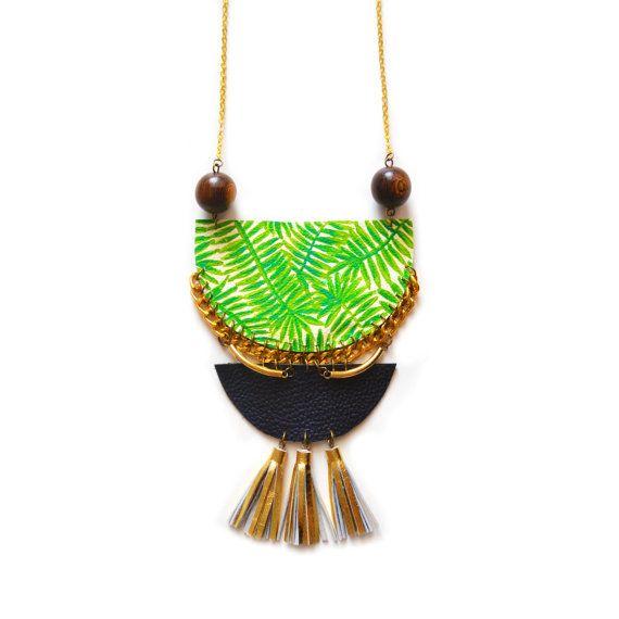 Nappa istruzione collana Palm Tree collana, collana in ottone, legno collana geometrica, nappa gioielli, Crescent tribali, gioielli tropicali