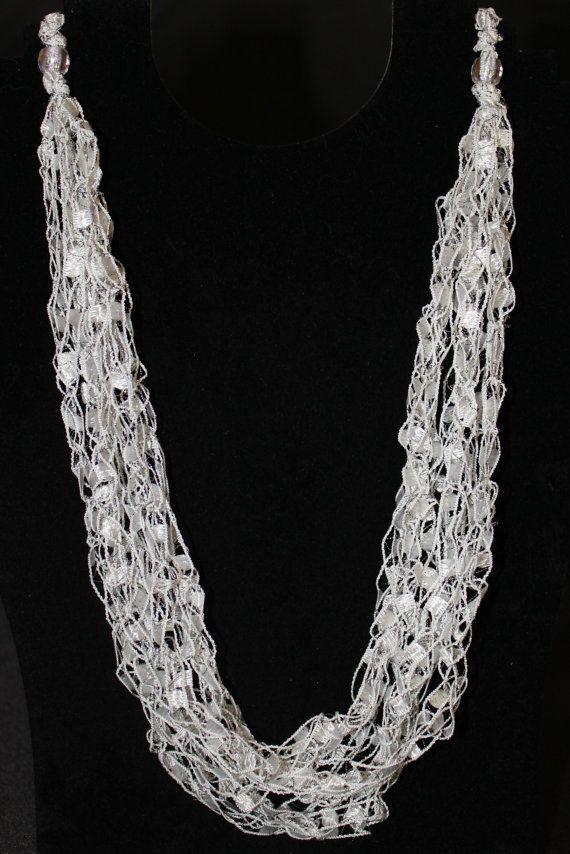 PATTERN for Crocheted Yarn Adjustable Necklace - Ladder Yarn, Ribbon Yarn