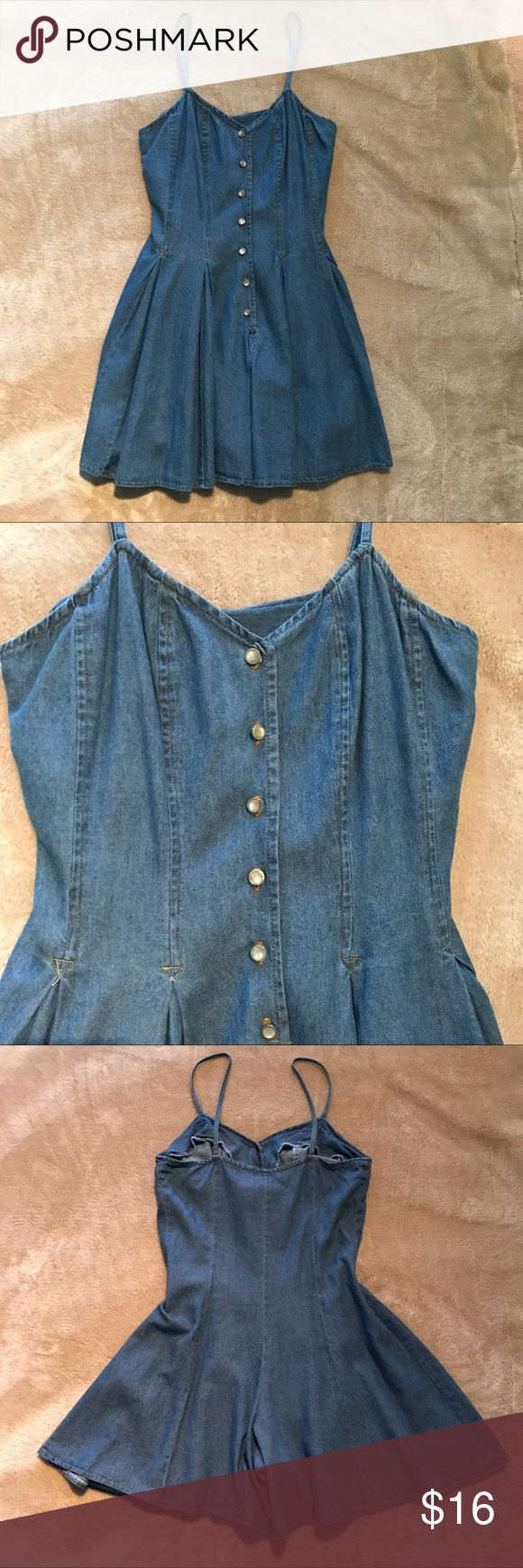 "Jean romper Lightweight cotton Jean romper with flared pleated bottom. Mother-of-pearl-style gold metal buttons down front. Gently preowned and in good condition!  Pit to pit 16"" Length 32"" Waist 14.5"" across Venus Other"