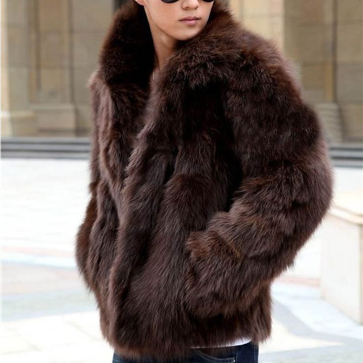 Короткие черные мужские искусственного меха лисы пальто мех нагрудные утолщение бурелом кожаные куртки мужские шуба три варианта цвета пальто