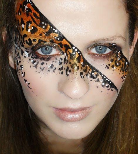 Face paint eye swirl leopard print girls half face