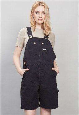 Vintage black lee dungaree shorts