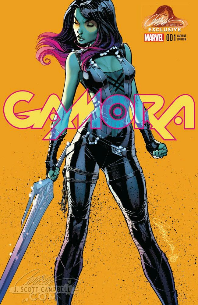 Gamora #1 (2016) JSC Exclusive Orange Background Variant Cover by J. Scott Campbell