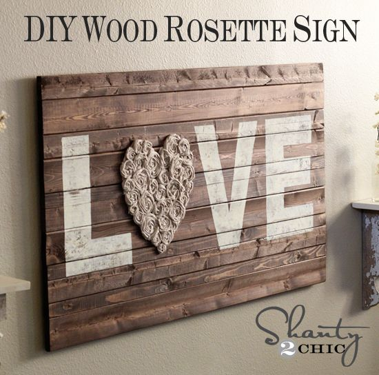 DIY Wood LOVE Sign with fabric flower heart
