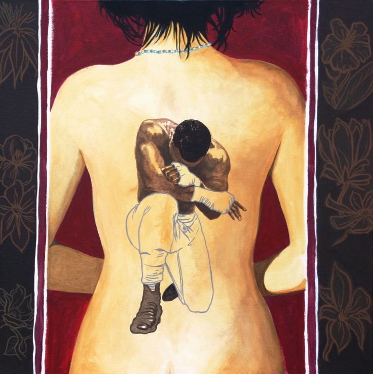 'boxe girl tatoo', acrilico su tela di Massimo Amadesi
