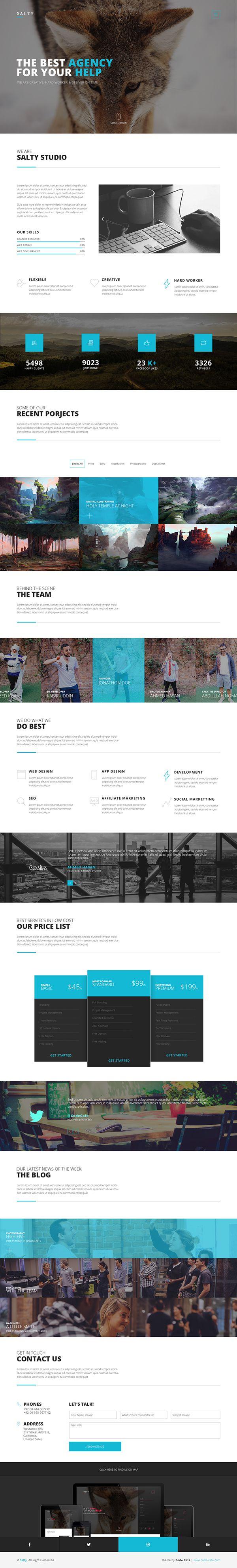 Salty - A creative digital agency & portfolio template on Behance