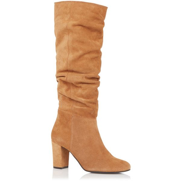 OASIS Slouchy Block Heel Boot (695 EGP) ❤ liked on Polyvore featuring shoes, boots, natural, oasis shoes, block heel shoes, oasis boots, slouchy suede boots and high heel boots