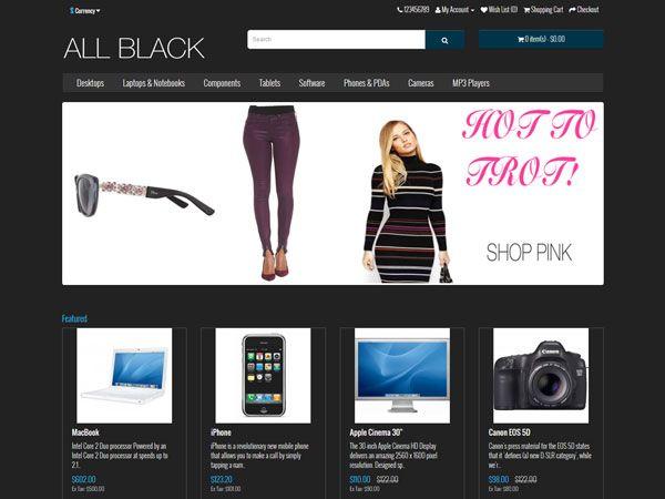 All-Black OpenCart Theme