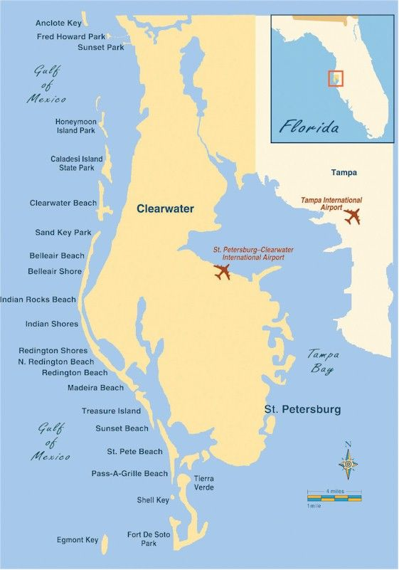 Florida Beaches: Map of St. Petersburg-Clearwater Area Beaches