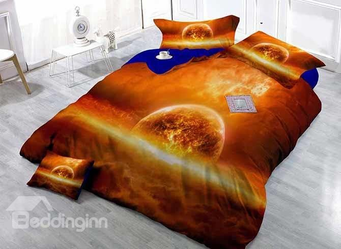 Planet Print Satin Drill Orange 4-Piece Duvet Cover Sets