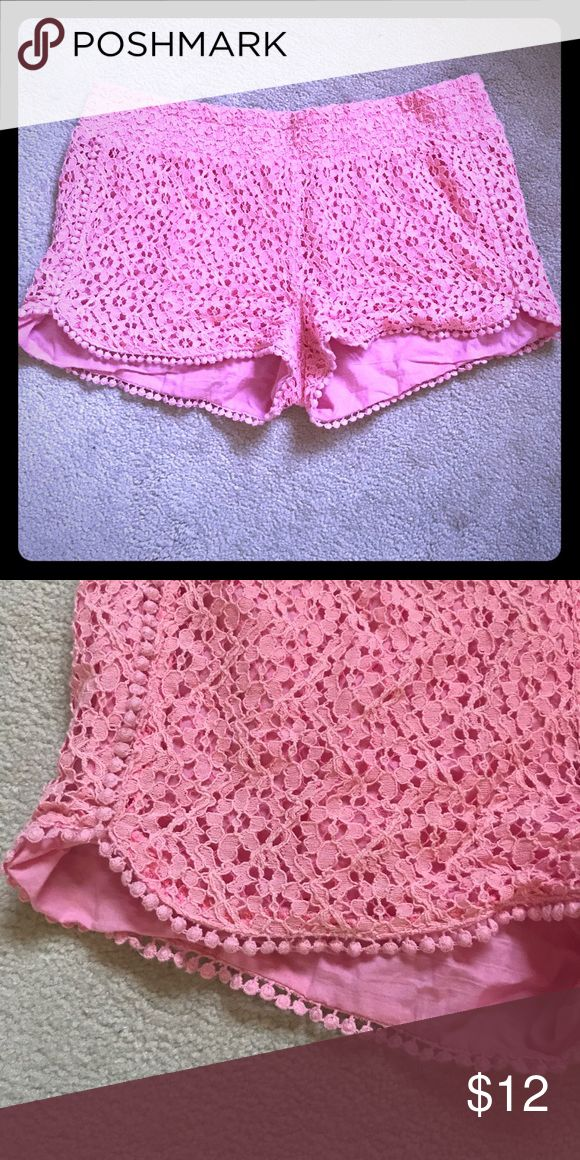 Adorable pink floral lace shorts 💕 Adorable light pink floral lace shorts, size XL juniors, in excellent condition! Shorts