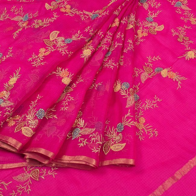 Buy online Embroidered Pink Kota Silk Saree With Floral Motifs 10015085