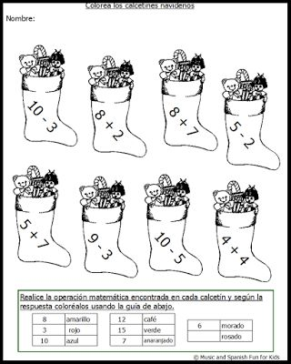 math worksheet : free christmas theme fun math worksheets and games for spanish  : Math Worksheets In Spanish