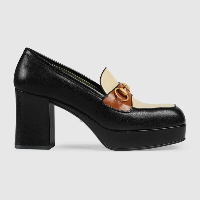 Gucci Leather Platform Loafers with