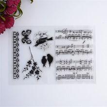 Nuevo Álbum Álbum de Fotos de BRICOLAJE Tarjetas Sellos De Caucho De Silicona Transparente de Acrílico Transparente Hoja de Música de Aves(China (Mainland))