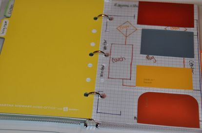 decorating binder to take shopping, crafts, paint swatches cut to fit business card holder sheet