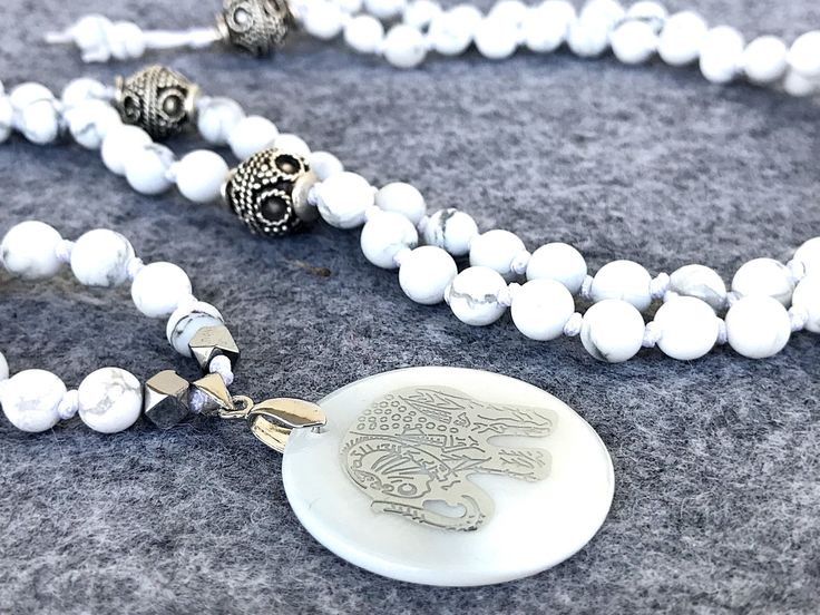 Ganesha Mala Necklace, Boho necklace, Yoga mala, Elephant Gemstones necklace, 108 Mala Beads, White Howlite necklace, Spiritual Mala by Katiaicrafts on Etsy